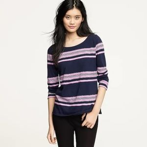 J. Crew Boardwalk Stripe Zipper Tee XS